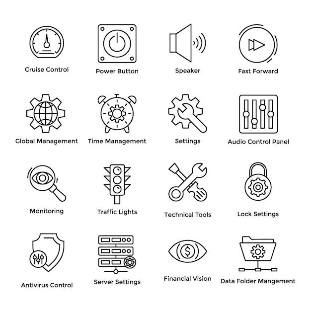 Controle cruise icons Vetor Premium