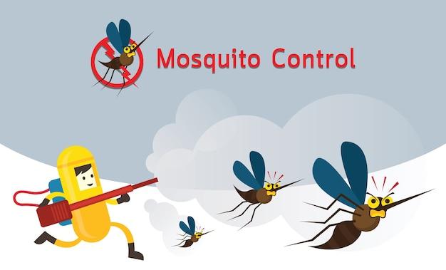 Controle de mosquitos, homem em traje de proteção executado pulverização de mosquito Vetor Premium