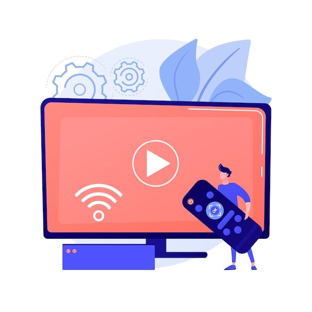 Controle remoto. streaming de mídia, ideia de acesso à rede doméstica. tecnologia de entretenimento integrada, televisão pela internet, transmissão de programas. ilustração vetorial de metáfora de conceito isolado Vetor grátis