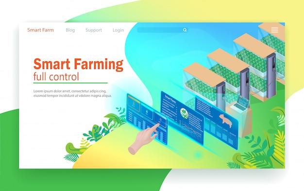 Controle total de agricultura inteligente. Vetor Premium