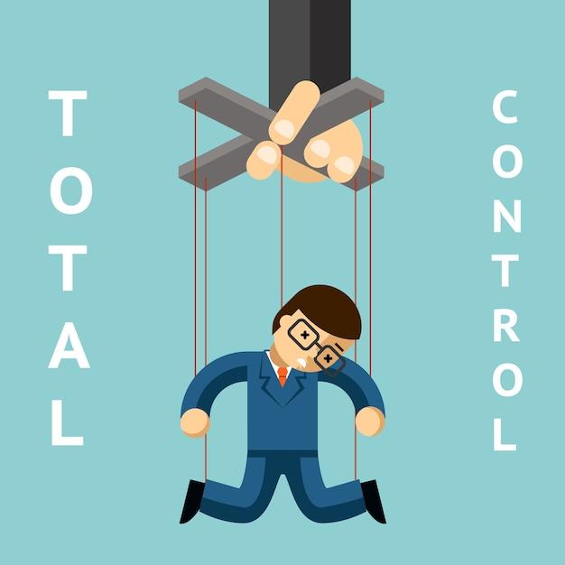 Controle total. fantoche de empresário. corda e autoridade, marionete e liderança, gerentes, boneca e trabalhador Vetor grátis