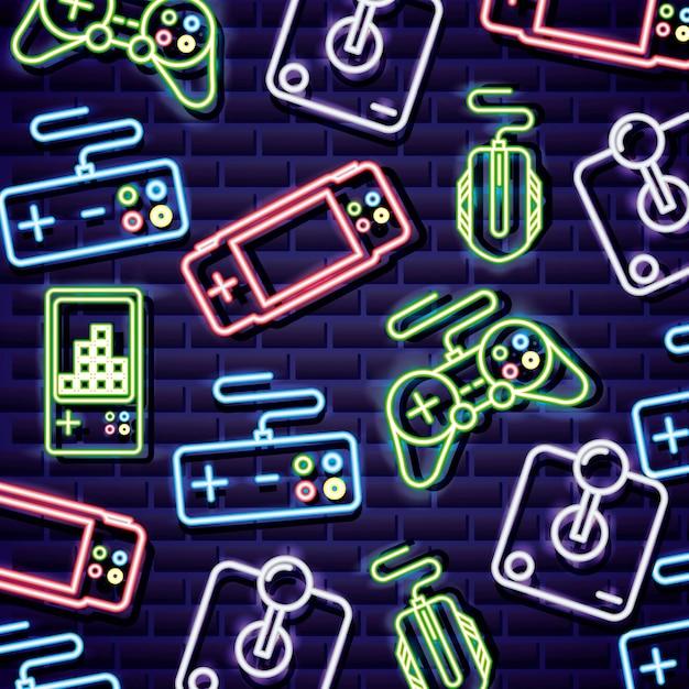 Controles de videogame no estilo neon na parede de tijolo Vetor grátis