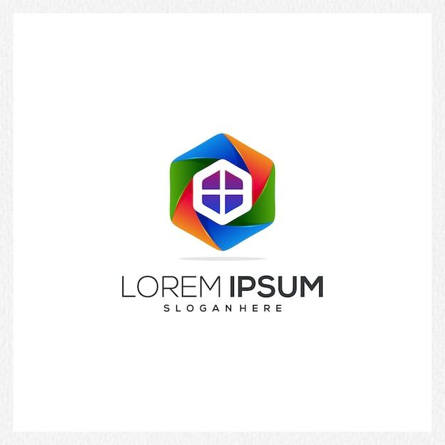 Contruction logotipo ícone moderno colorido empresa negócios novo estilo especial Vetor Premium