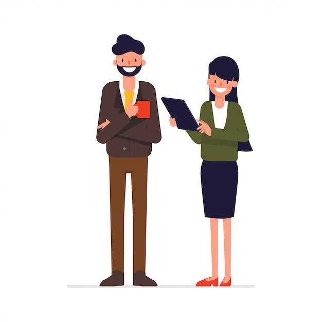 Conversa de colega de pessoas de negócios. Vetor Premium