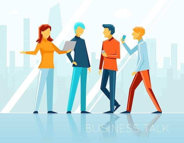 Conversa de negócios, brainstorming criativo. reunião de pessoas, comunicação e escritório. ilustração vetorial Vetor grátis
