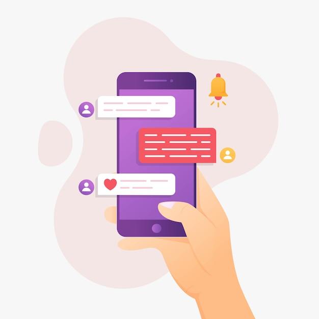 Conversando com o conceito de design com a mão segurando o celular Vetor Premium