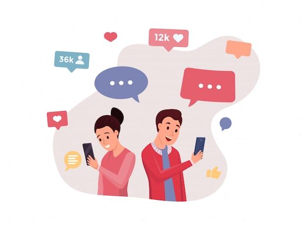 Conversando com pessoas usando diferentes gadgets Vetor Premium