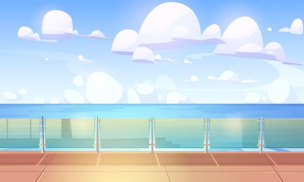 Convés de cruzeiro ou cais com balaústre de vidro, navio vazio com piso de madeira e cerca de acrílico. Vetor grátis