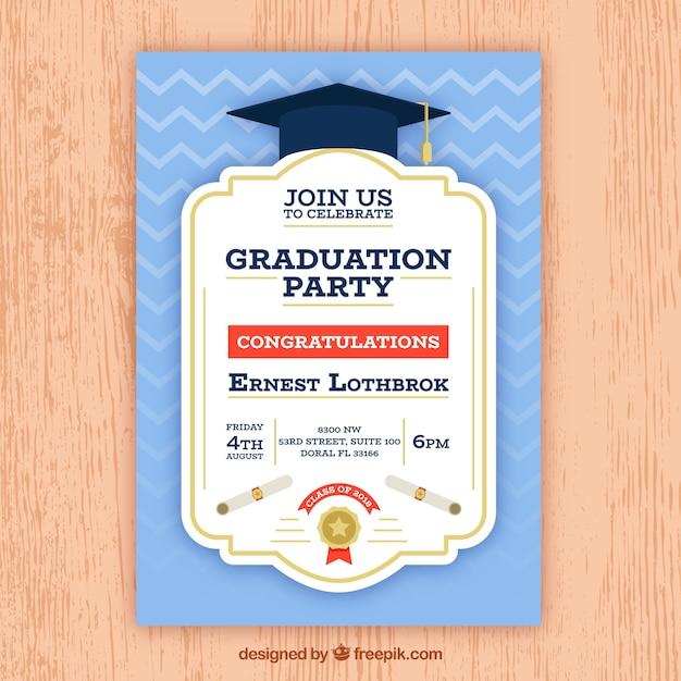 Convite azul da festa de formatura Vetor grátis