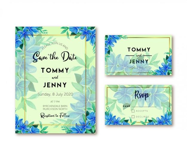 Convite azul do casamento da aguarela da orquídea do vintage Vetor Premium