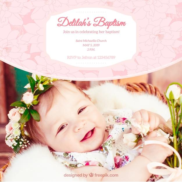 Convite bonito do baptismo do vintage com flores Vetor Premium