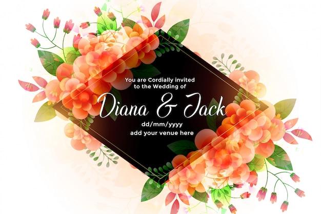 Convite bonito do cartão de casamento das flores Vetor grátis