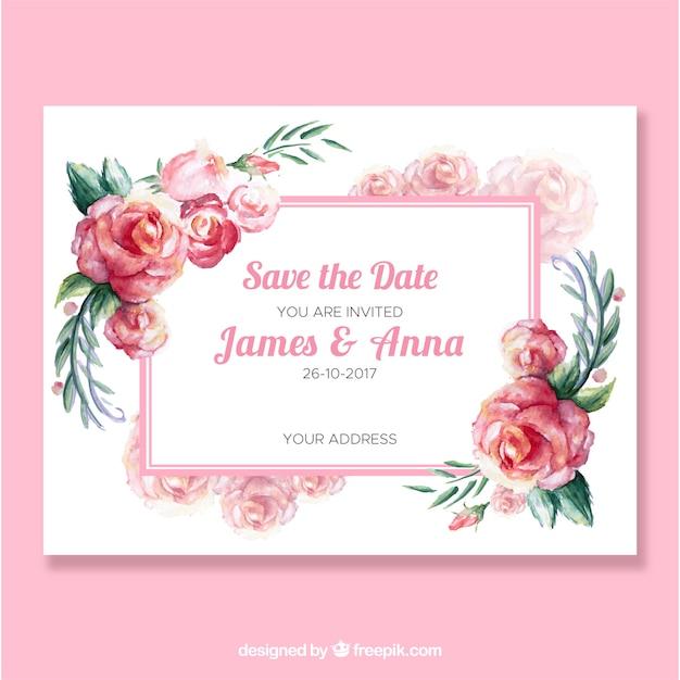 Convite bonito do casamento com rosas da aguarela Vetor grátis