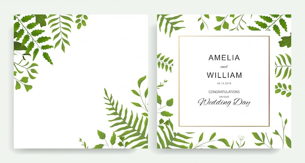 Convite botânico do casamento, convide Vetor Premium