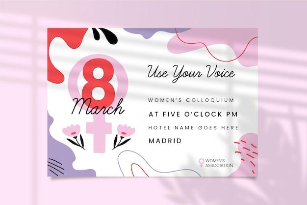 Convite colorido abstrato do dia da mulher Vetor grátis