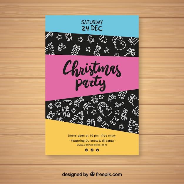 Convite colorido para uma celebração de natal Vetor grátis