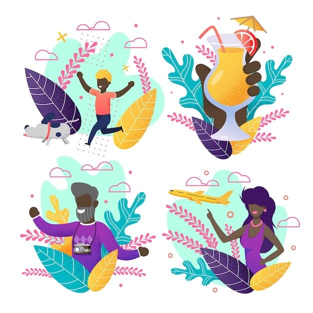 Convite com conjunto de verão. povos afro-americanos dos desenhos animados em cartões Vetor Premium