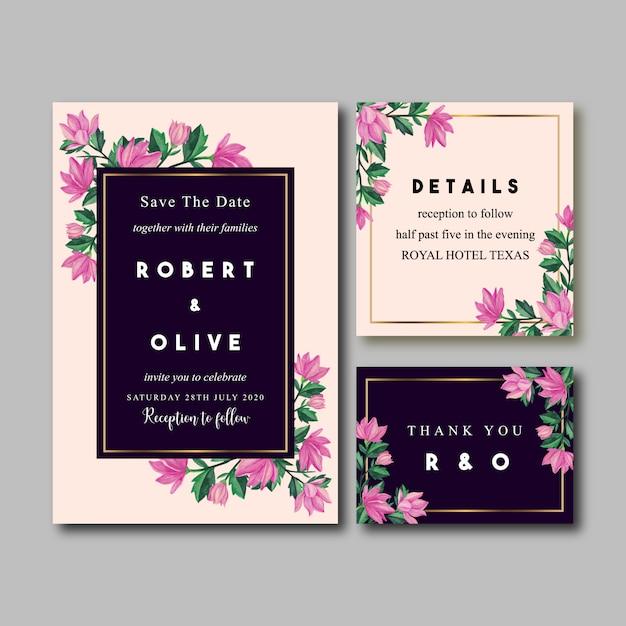 Convite cor-de-rosa do casamento da aguarela do vintage da orquídea Vetor Premium