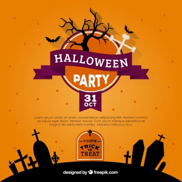 Convite da festa de halloween laranja baixar vetores gr tis - Fiesta de halloween infantil ...