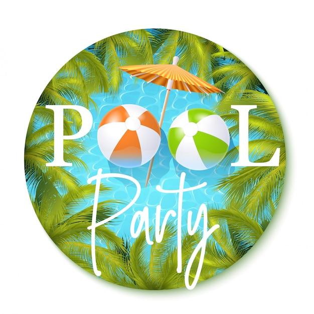 Convite da festa na piscina Vetor Premium