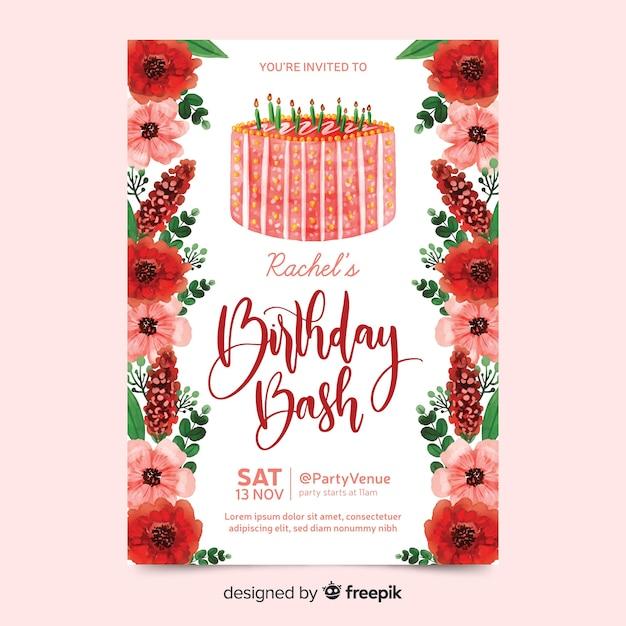 Convite de aniversário com flores em aquarela Vetor grátis