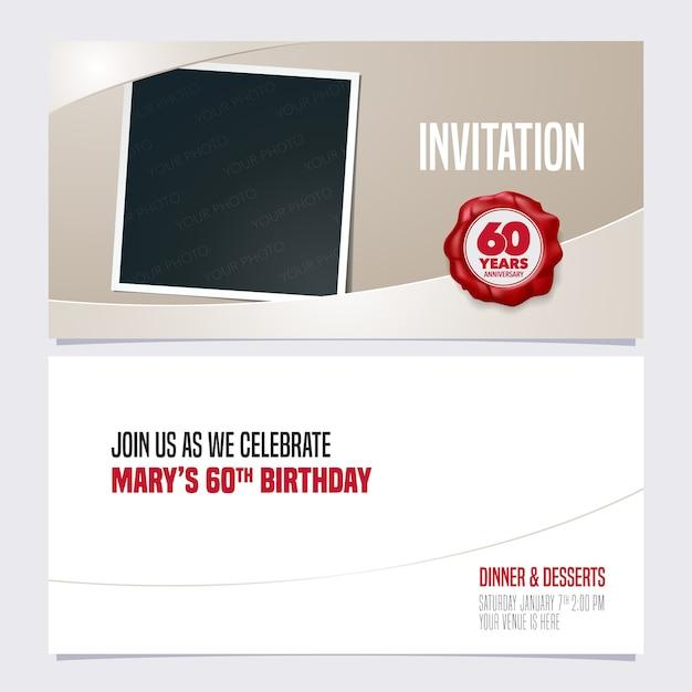 Convite de aniversário de 60 anos. modelo com colagem de moldura de foto para convite para festa de 60 anos Vetor Premium