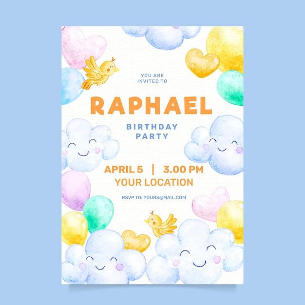 Convite de aniversário de crianças aquarela Vetor grátis