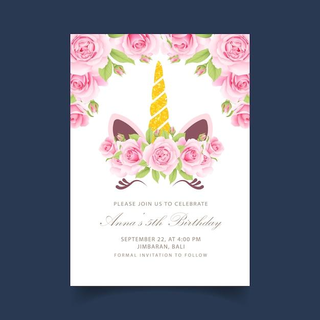 Convite de aniversário de crianças floral com unicórnio fofo Vetor Premium