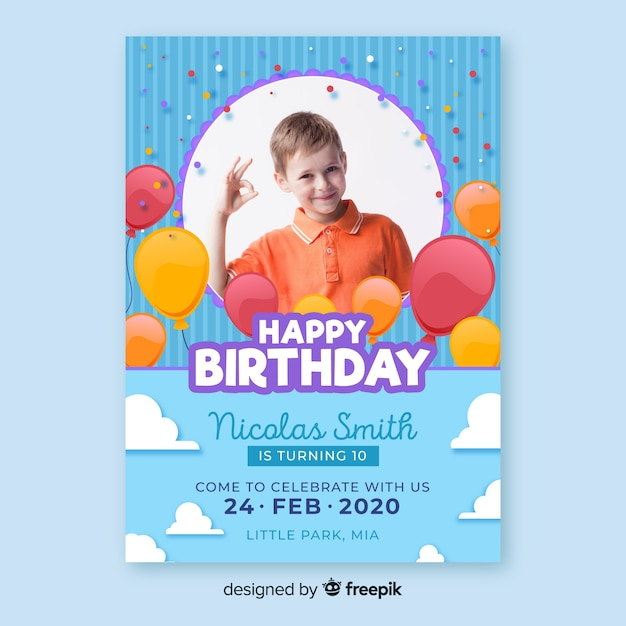 Convite de aniversário de crianças modelo Vetor grátis