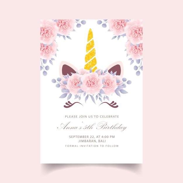 Convite de aniversário floral crianças com unicórnio fofo Vetor Premium