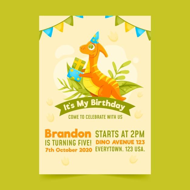 Convite de aniversário infantil com modelo de dinossauro Vetor grátis