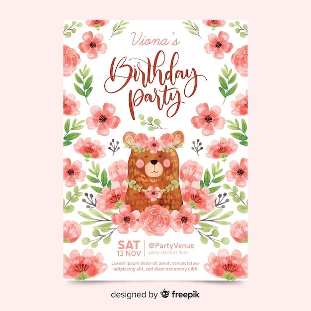 Convite de aniversário lindo com flores Vetor grátis