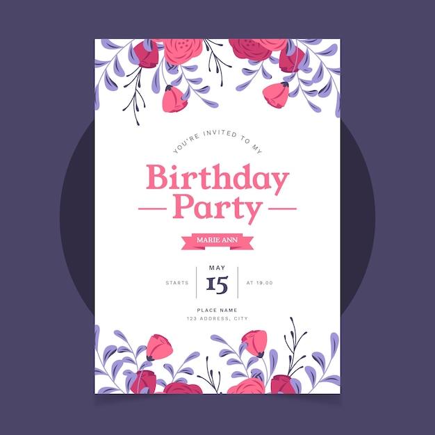 Convite de aniversário plano orgânico Vetor grátis