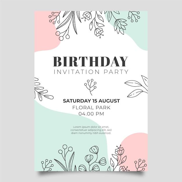 Convite de aniversario Vetor Premium