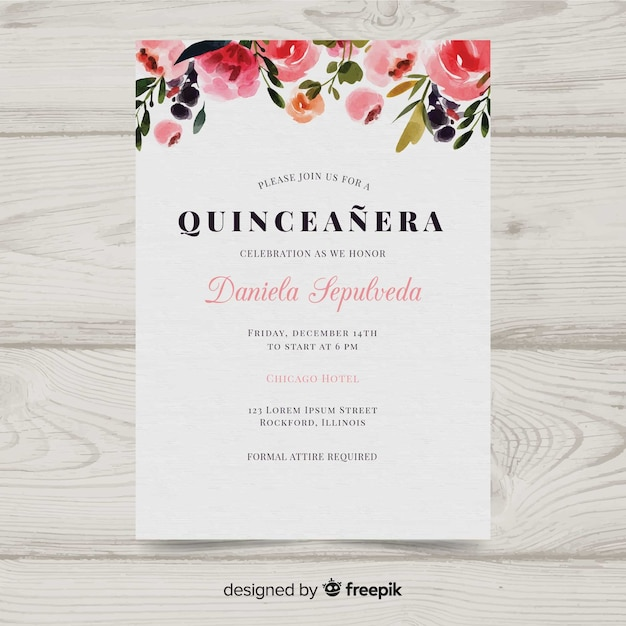 Convite de aquarela quinceanera Vetor grátis