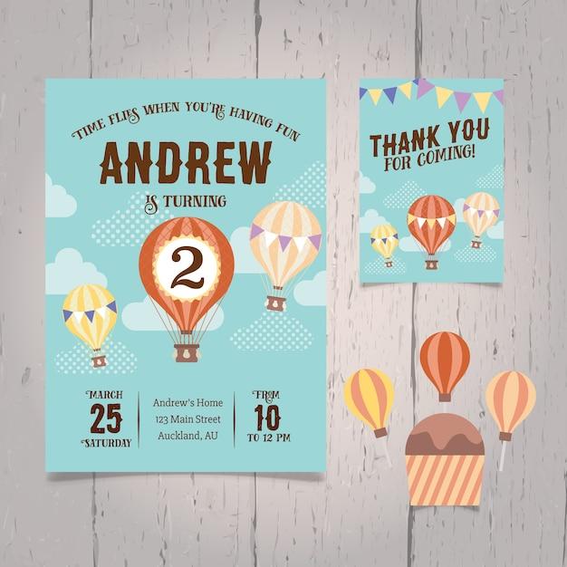 Convite De Ar Quente De Aniversário Do Balão
