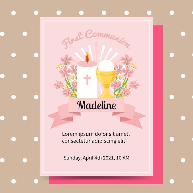 Convite de batismo de comunhão do rosa bonito primeiro para menina de crianças. modelo de convite simples. Vetor Premium