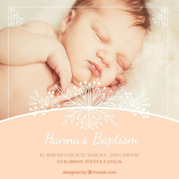 Convite de batismo elegante Vetor Premium