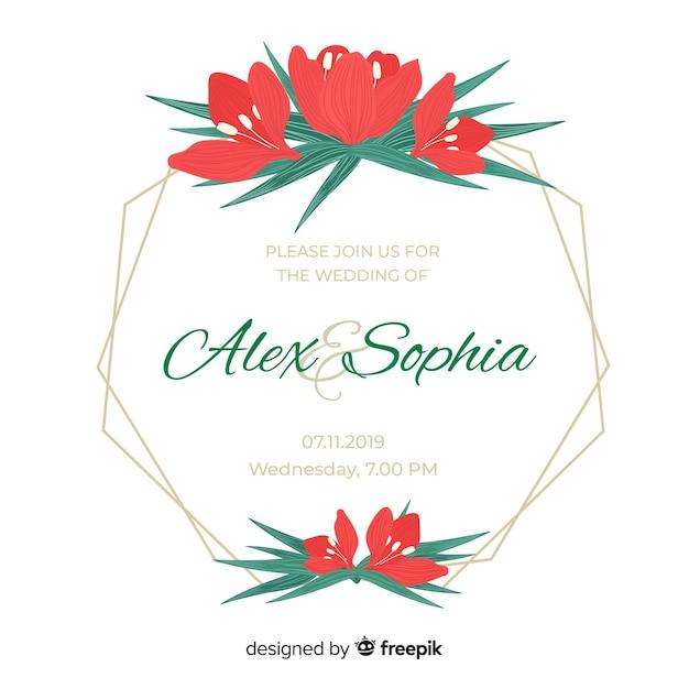 Convite de capina de quadro de tulipas vermelhas Vetor grátis