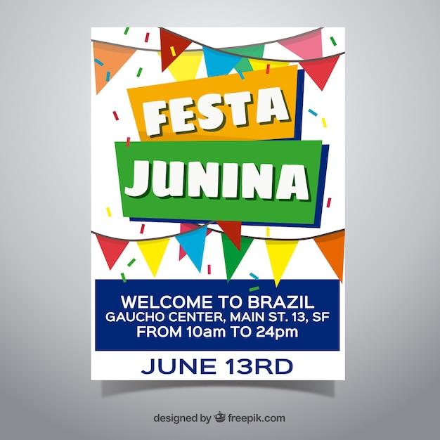 Convite de cartaz festa junina com bandeirolas planas Vetor grátis