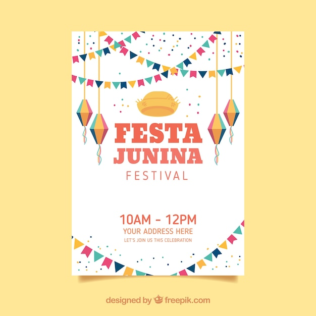 Convite de cartaz festa junina com elementos planos Vetor grátis