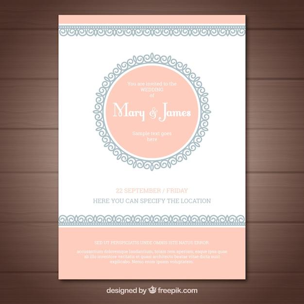 Convite de casamento agradável em estilo vintage Vetor grátis