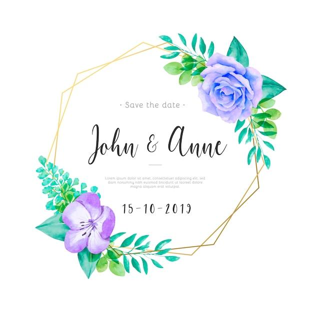 Convite de casamento bonito com flores em aquarela e folhas Vetor grátis