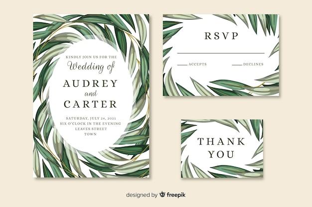 Convite de casamento bonito com folhas pintadas artísticas Vetor grátis