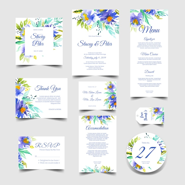 Convite de casamento bonito conjunto de aquarela azul Vetor Premium