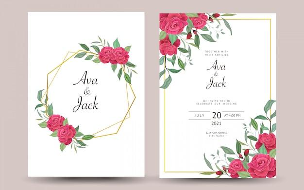 Convite de casamento bonito ou cartão com design floral. Vetor Premium