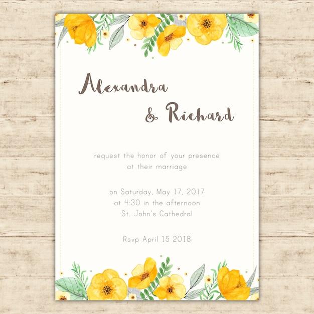 Convite de casamento brilhante com pintados à mão flores amarelas Vetor grátis