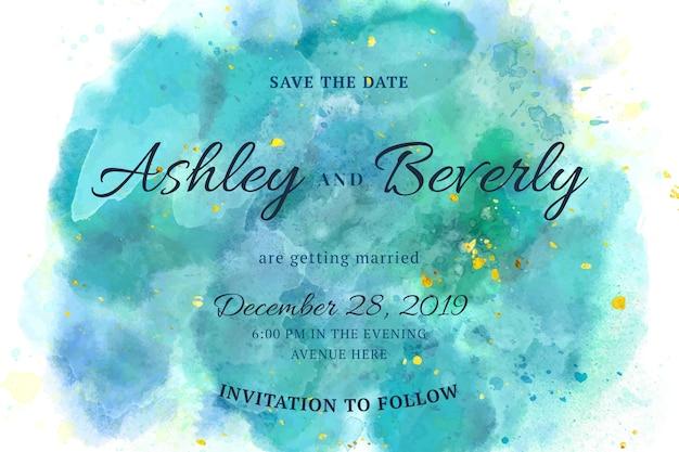 Convite de casamento caligráfico com manchas de aquarela Vetor grátis