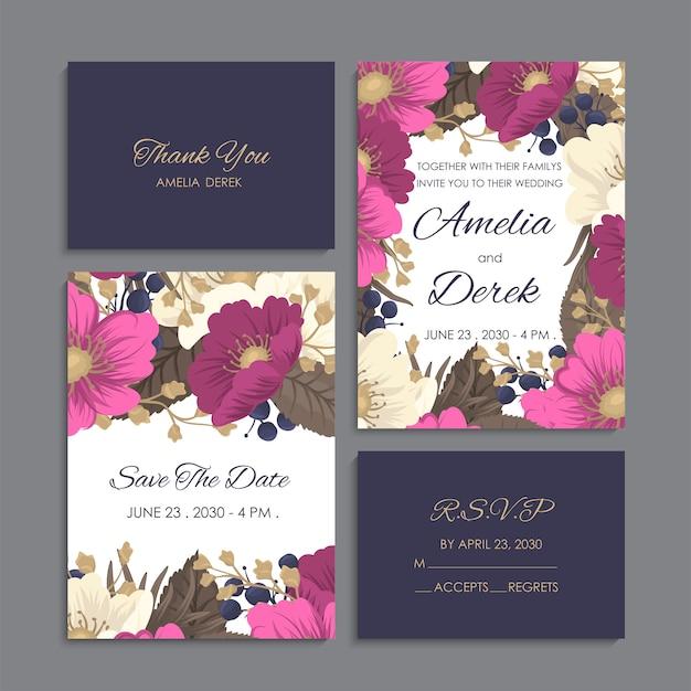 Convite de casamento, cartão de agradecimento, salve os cartões de data. Vetor grátis