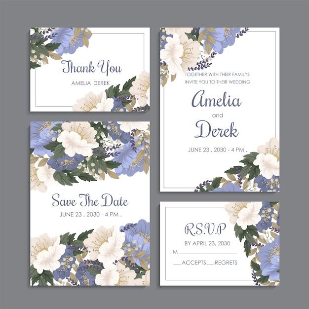 Convite de casamento, cartão de agradecimento, salve os cartões de data. Vetor Premium